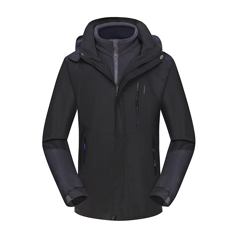 Осень и зима стиль пара открытый лыжный костюм Мужской плащ куртка три в одном Теплый Альпинизм - Цвет: Black