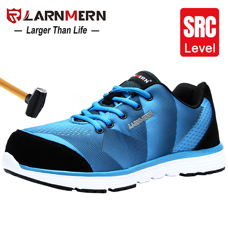 LARNMERN Men's Work Shoes Steel Toe Safety Shoes Comfortable Lightweight Anti-smashing Non-slip Construction Protective Footwear
