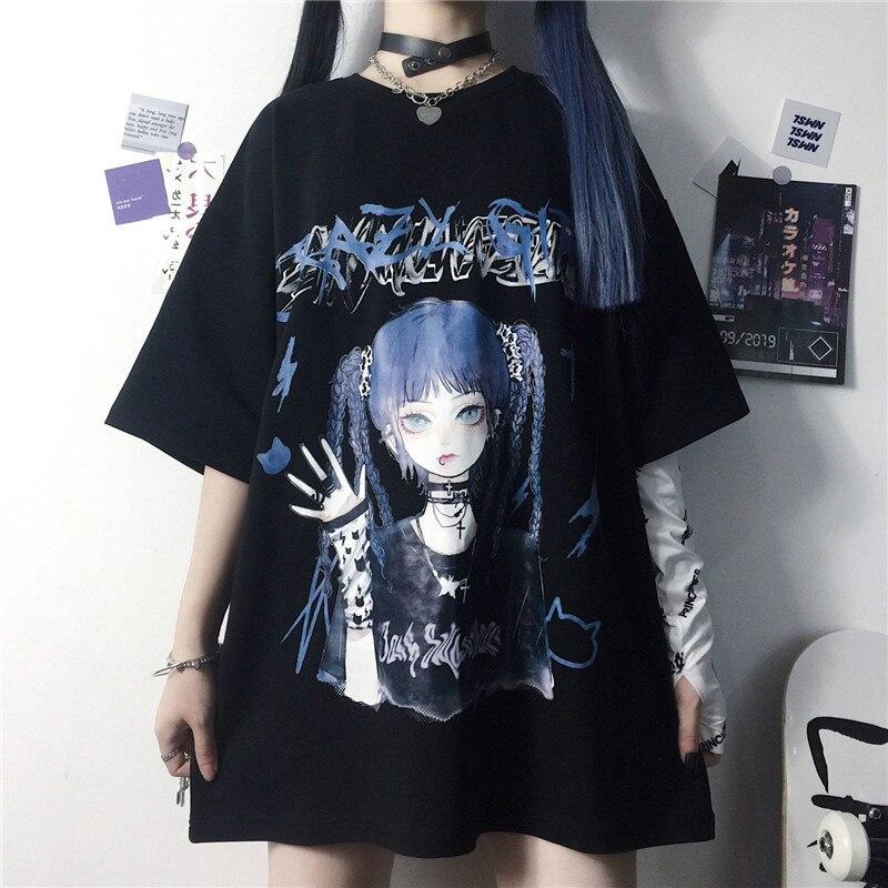 Крутая забавная летняя футболка, женские свитшоты в стиле K-POP, белые черные футболки с изображением животных, черная мультяшная Женская тол...
