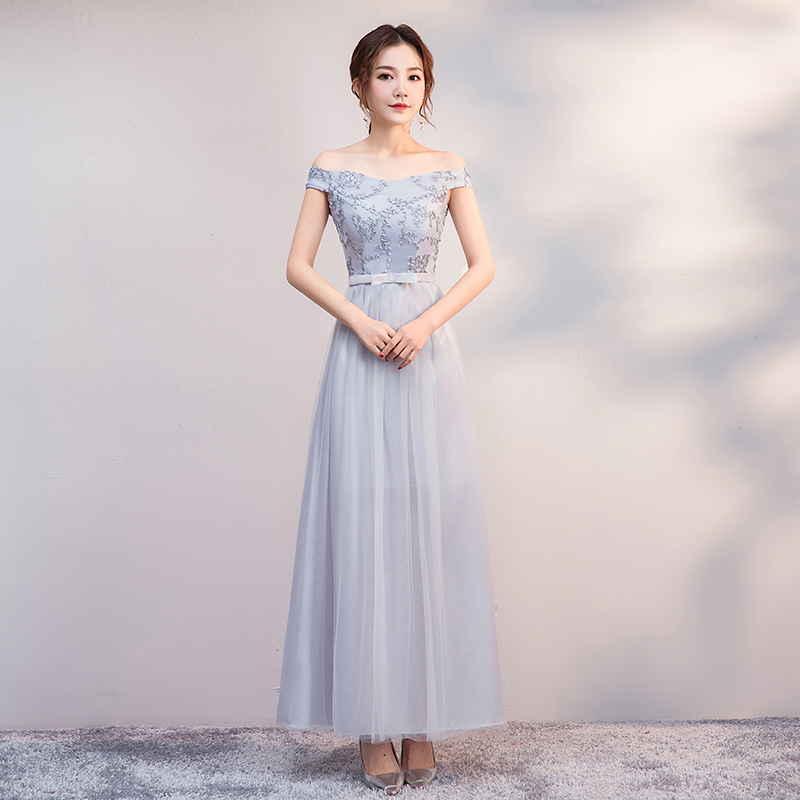 Off The Shoulder Gray Maid Of Honor Dresses For Weddings Party For Woman Tulle Bridesmaid Dresses Sister Vestido Sexy Dress Prom