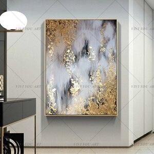 Image 2 - 2019 新 100% ハンド塗装抽象アートウォールピクチャー手作りゴールデンツリーキャンバス用ホーム装飾