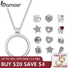 BAMOER oryginalne 925 srebro średnie drobne wspomnienia pływające naszyjniki medalion i wisiorki srebro biżuteria PSF001