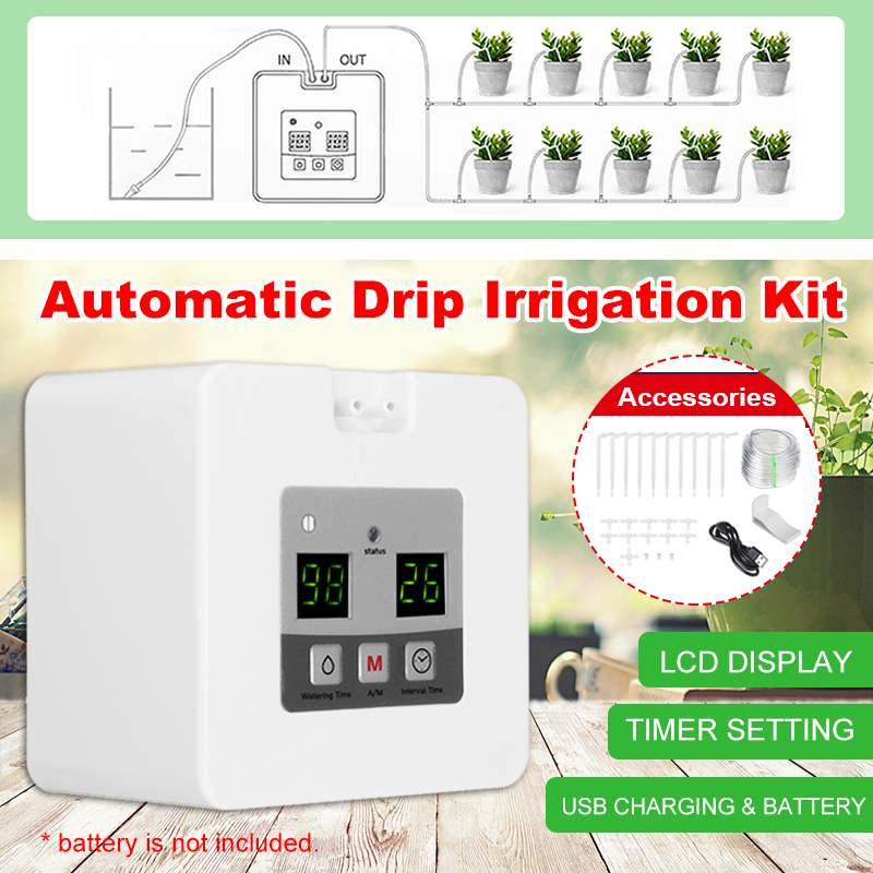 1 Set LED Smart Watering Controller Auto indoor garden pump Controller Drip Irrigation Potted Plant Timer greenhouse