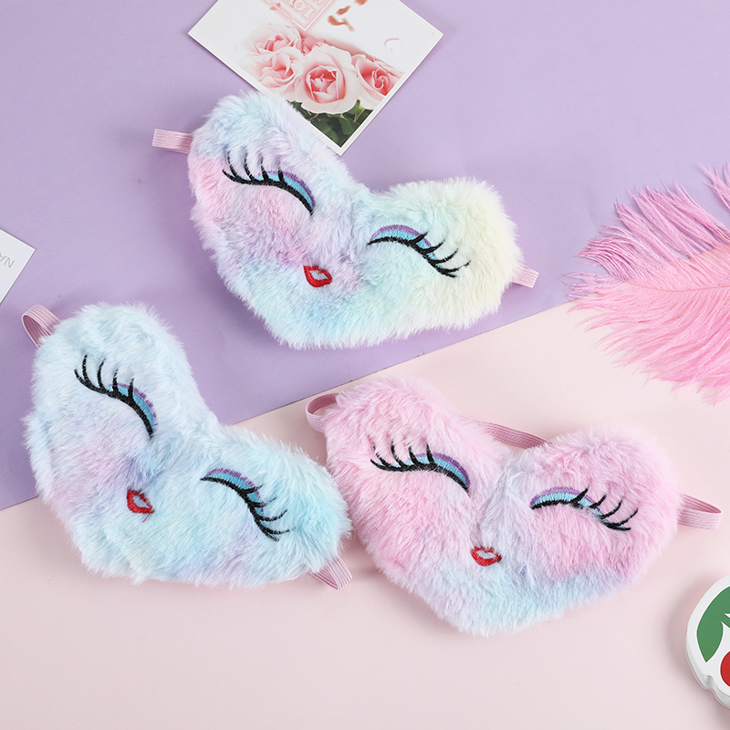 Girl Colorful Cartoon Plush Sleeping Mask Cute Love Heart Silk Eye Cover Leopard Sleep Eyeshade Travel Relax Mask Party Gifts