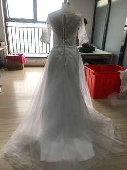 Eightale Wedding Dress with Sleeves Appliques Lace A-Line Train Bride Dress Custom Made Plus Size Wedding Gowns vestido novia