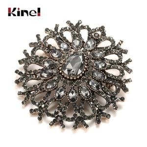 Kinel Vintage Women Turkish Flower Brooch Pin Gray Crystal Jewelry Rhinestone Brooches Arabia Paisley Pattern Lapel Corsage