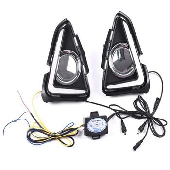 LED DRL Daytime Running Light Fog Lamp 12V Car Running Lights for Toyota RAV4 RAV 4 2016 2017 2018(White+Yellow Lights)