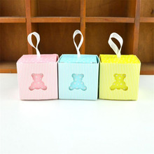 Baby Shower Cute Bear Candy Box Laser Cut-out Favor Gift Boxes For Boy Girl Birthday Party 5x5x5cm