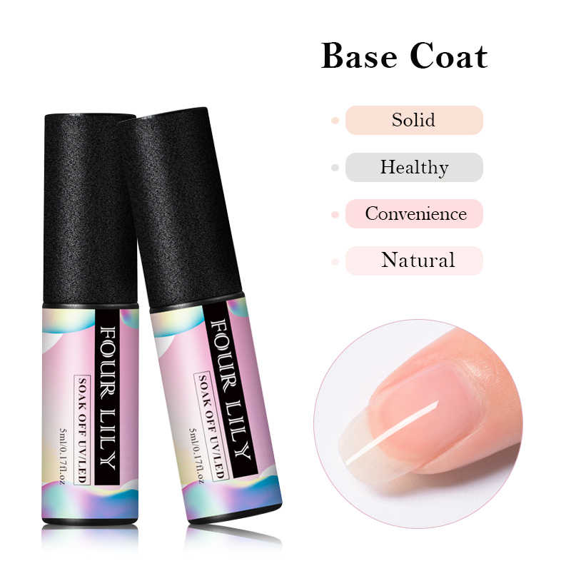 Vier Lelie Base Coat Soak Off Nail Gel Polish 5 Ml Transparante Uv Led Gel Lak Natuurlijke Hars Nail Art vernis Langdurige