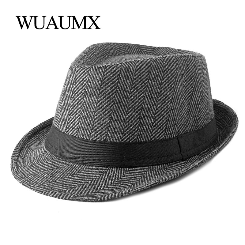 Wuaumx Unisex British Style Tweed Jazz Hats Men Middle aged Panama Hat Fedoras Hat For Male Autumn Winter Bowler Caps Gentleman
