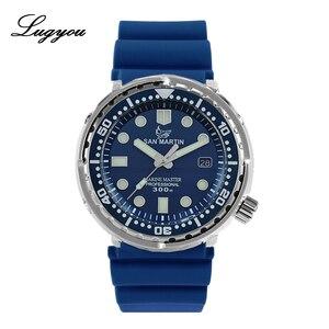 Image 2 - LUGYOU San Martin TUNA automatyczny męski zegarek do nurkowania ze stali nierdzewnej 30Bar wodoodporny pasek silikonowy Super Glow Sapphire data
