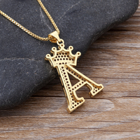 New Luxury Copper Zircon A-Z Crown Alphabet Pendant Chain Necklace Punk Hip-Hop Style Fashion Woman Man Initial Name Jewelry 5