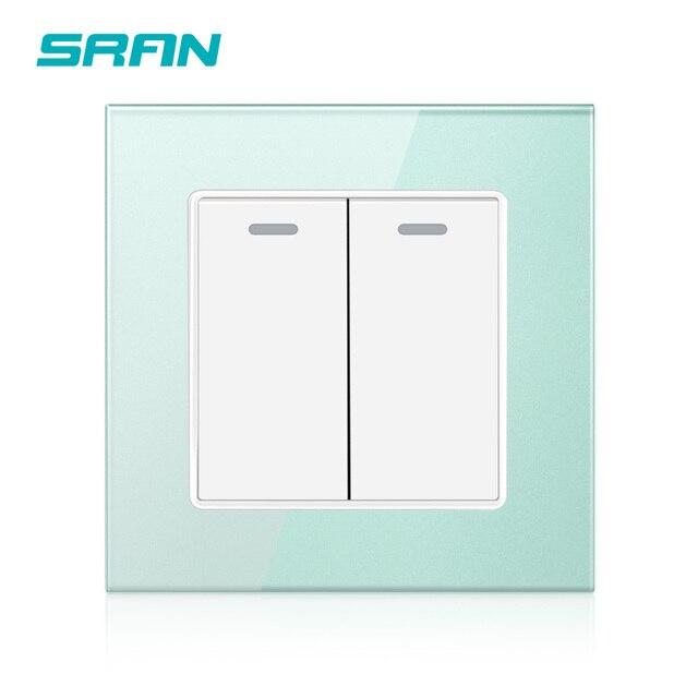 Interruptor basculante SRAN UK estándar 2Gang 1 Way, interruptor de pared 250V 16A para fuente de alimentación doméstica cristal templado 86mm * 86mm