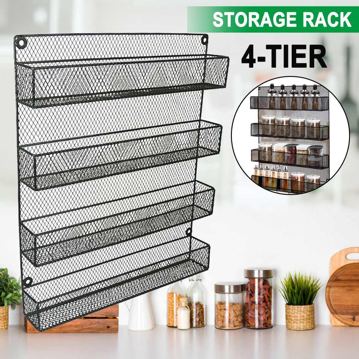 Wall Mount Spice Rack Organizer For Cabinet Spice Shelf Seasoning Organizer Pantry Door Organizer Spice Storage Storage Holders Racks Aliexpress