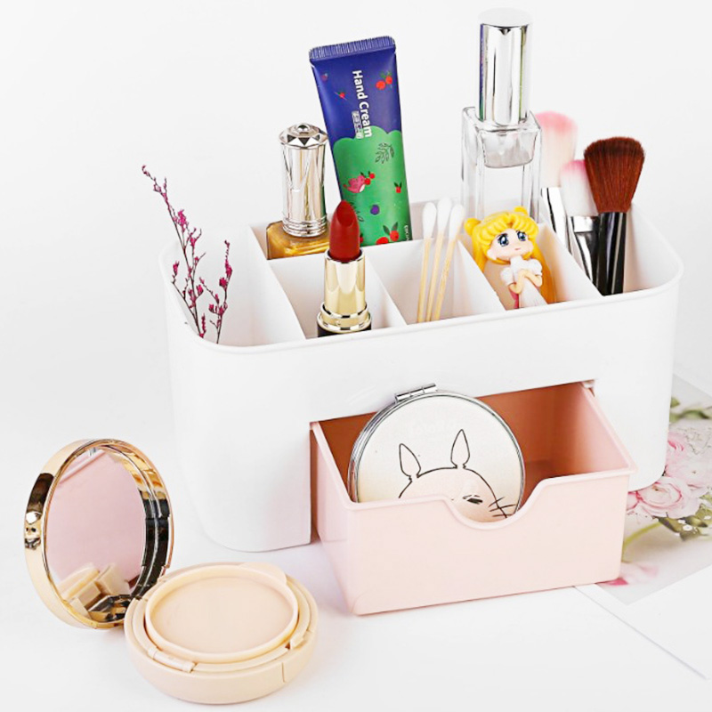 Plastic <font><b>Drawer</b></font> Storage Box Sorting Makeup <font><b>Organizer</b></font> With Compartments Transparent Plastic Storage Box image