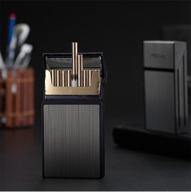 20 Sticks Cigarette Box Case Space Aluminum Slim Cigarette Holder Lighter Portable Cigarette Case Mens Gifts Smoking Accessories 2