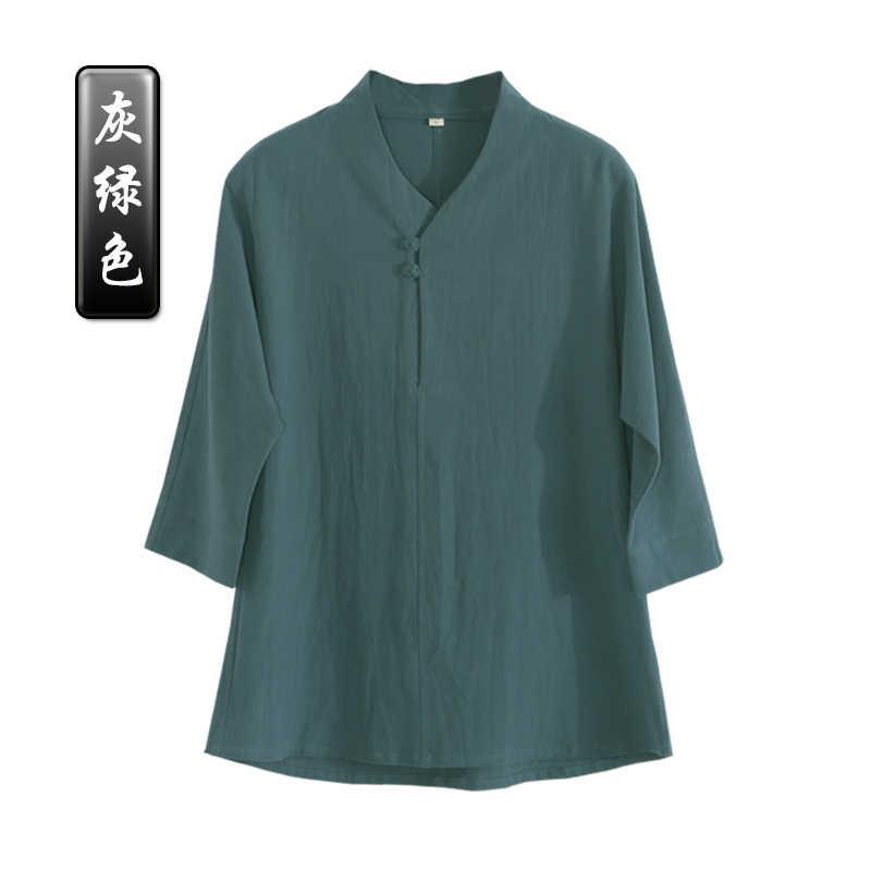 קיץ באיכות גבוהה כותנה ופשתן זן להניח קצר שרוולים חליפות אגף chun טאי צ 'י קונג פו מדים hanfu מדיטציה חולצה