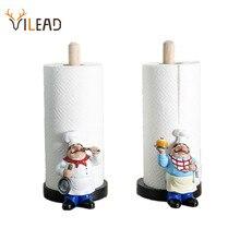 VILEAD 29.5cm reçine şef çift katmanlı kağıt havlu tutacağı figürler yaratıcı ev kek dükkanı restoran el sanatları dekorasyon süs