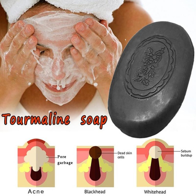 Tourmaline Anti-aging Antiacne Soap Face Care Wash Basis Whitening Soap Black Bamboo Charcoal Moisture And Replenishment Soap 2