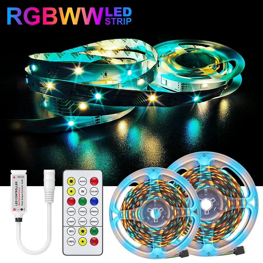 RGBWW RGB LED Strip Light 5050 10M 5M LED Lights SMD 2835 Rgb Leds nastro diodo nastro flessibile decorazione della stanza set di adattatori DC12V
