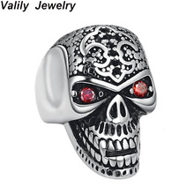 Valily Man Skull Ring Big Vampire Skeleton Stainless Steel Punk Hiphop Cool Crystal Rings For Men Club Party Jewelry