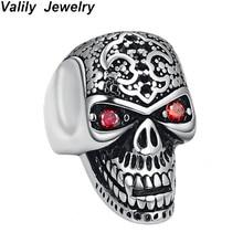 лучшая цена Valily Man Skull Ring Big Vampire Skeleton Ring Stainless Steel Punk Hiphop Cool Crystal Rings For Men Club Party Rings Jewelry