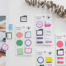12pcs/lot Cute Index Sticker Memo Pad Schedule Marker Sticky Note Diary Scrapbook Stickers Stationery Office School Supplies 1 pcs 7 10 colors pet 20 sheets per color index tabs flags sticky note for page marker stickers office accessory stationery
