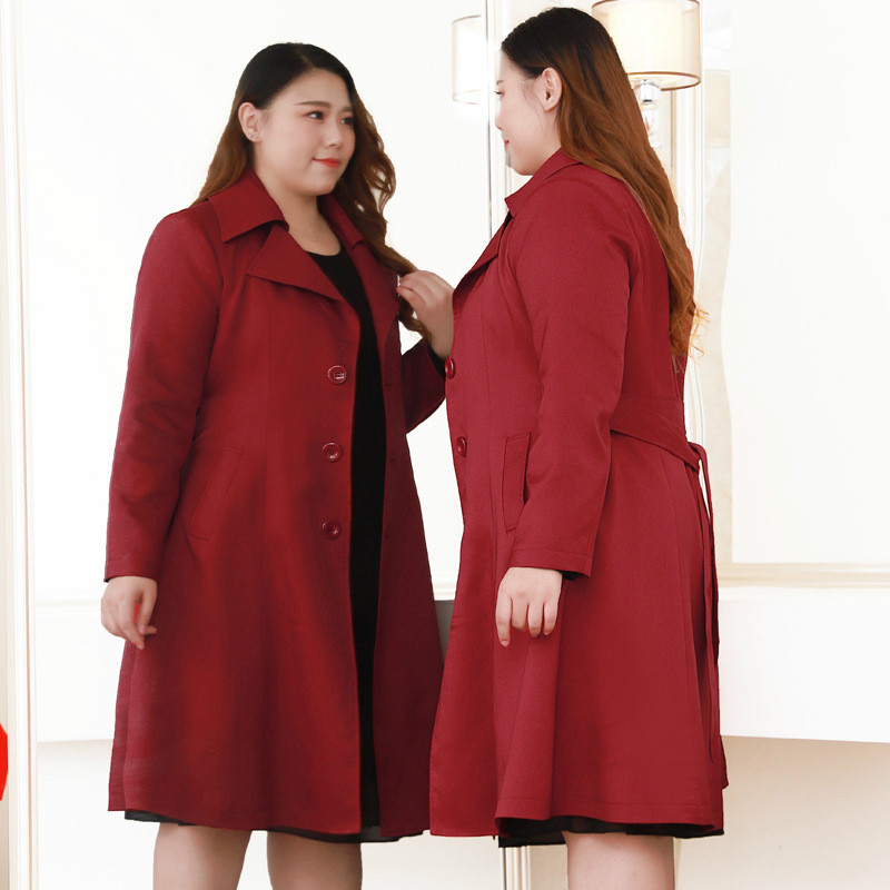 Large Size Fashion Women Autumn Windbreaker Long Sleeve Overcoat Female Loose Trench Coat For Women Red Maxi Coat 8xl 9xl 10xl