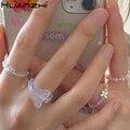 HUANZHI 2020 Neue Schöne Sommer Koreanische Bunte Transparente Perlen Schmetterling Blumen Ringe für Frauen Party Urlaub Schmuck Geschenke