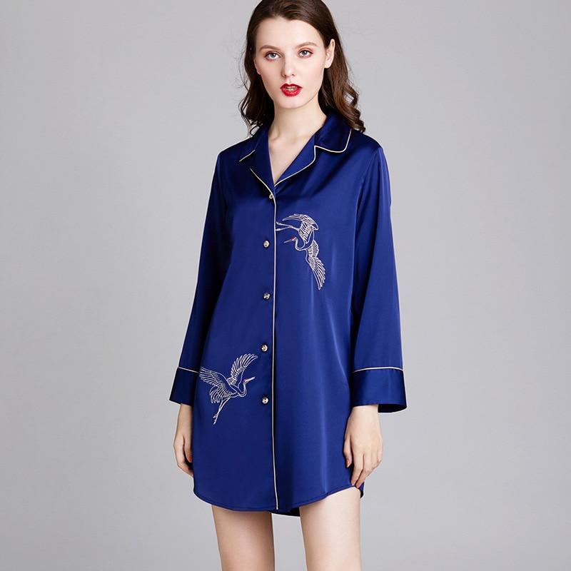 Yao Ting Nightgown Female Summer Long Sleeve Pajamas Women's Thin Silk Loose Crane Shirt Dress Medium-length Dress Tracksuit 168