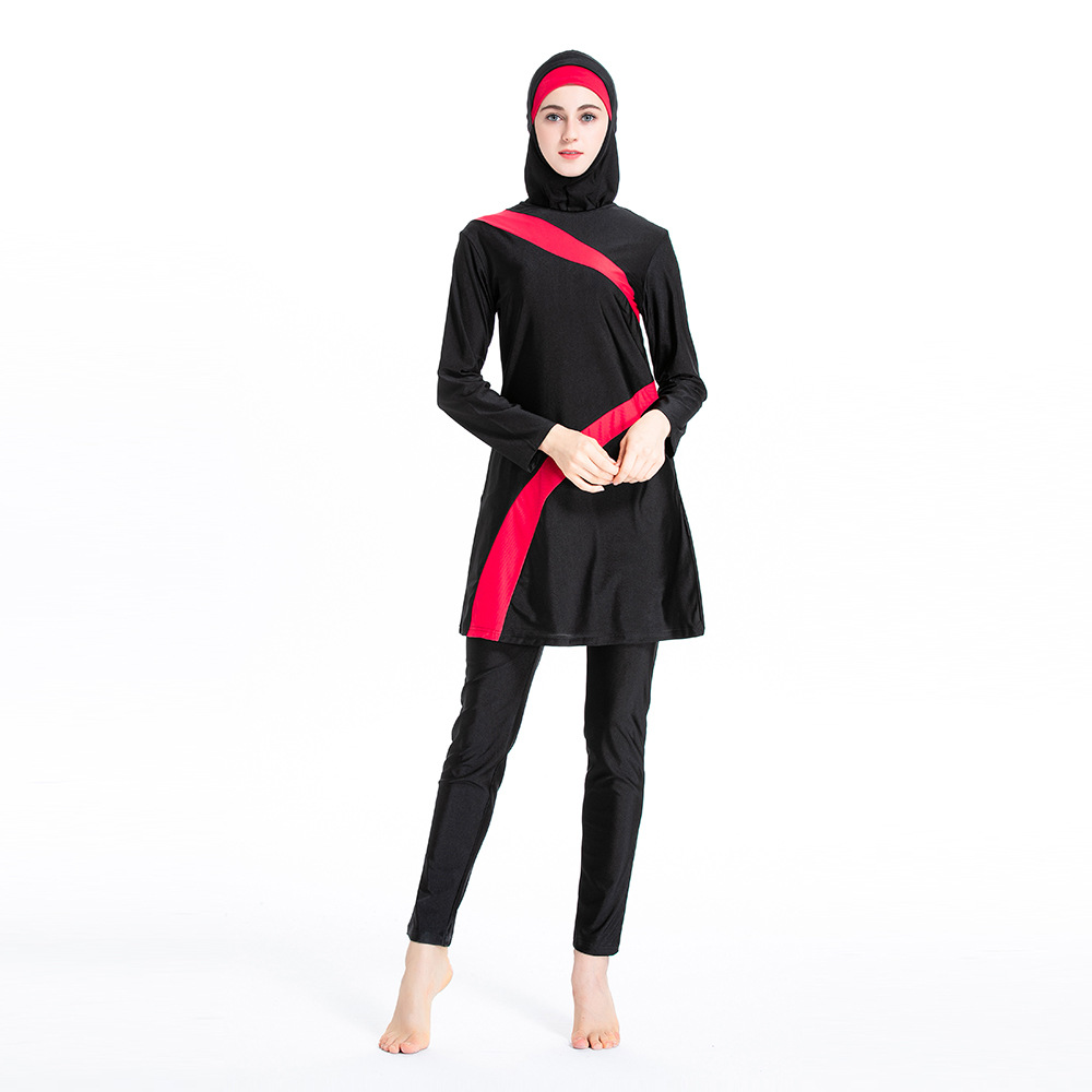 Islamic Muslim Swimwear Sets Women Hooded Burkini 3 Piece Suits Hijab Swimsuit Full Modest Arab Swim Surf Wear Sport Burkinis