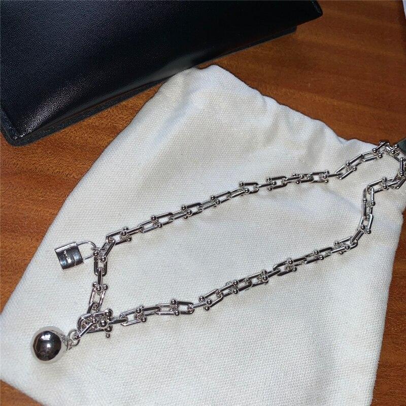 Роскошные брендовые 1:1 ожерелья из стерлингового серебра S925 пробы для женщин u образная подвеска в виде замка и шарика, вечерние ожерелья на