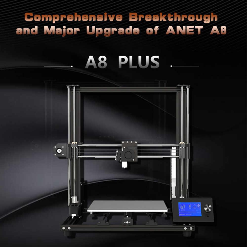Anet A8 Plus, impresora 3D mejorada DIY, autoensamblaje, 300*300*350mm, gran tamaño de impresión, marco de aluminio móvil, Panel de Control LCD