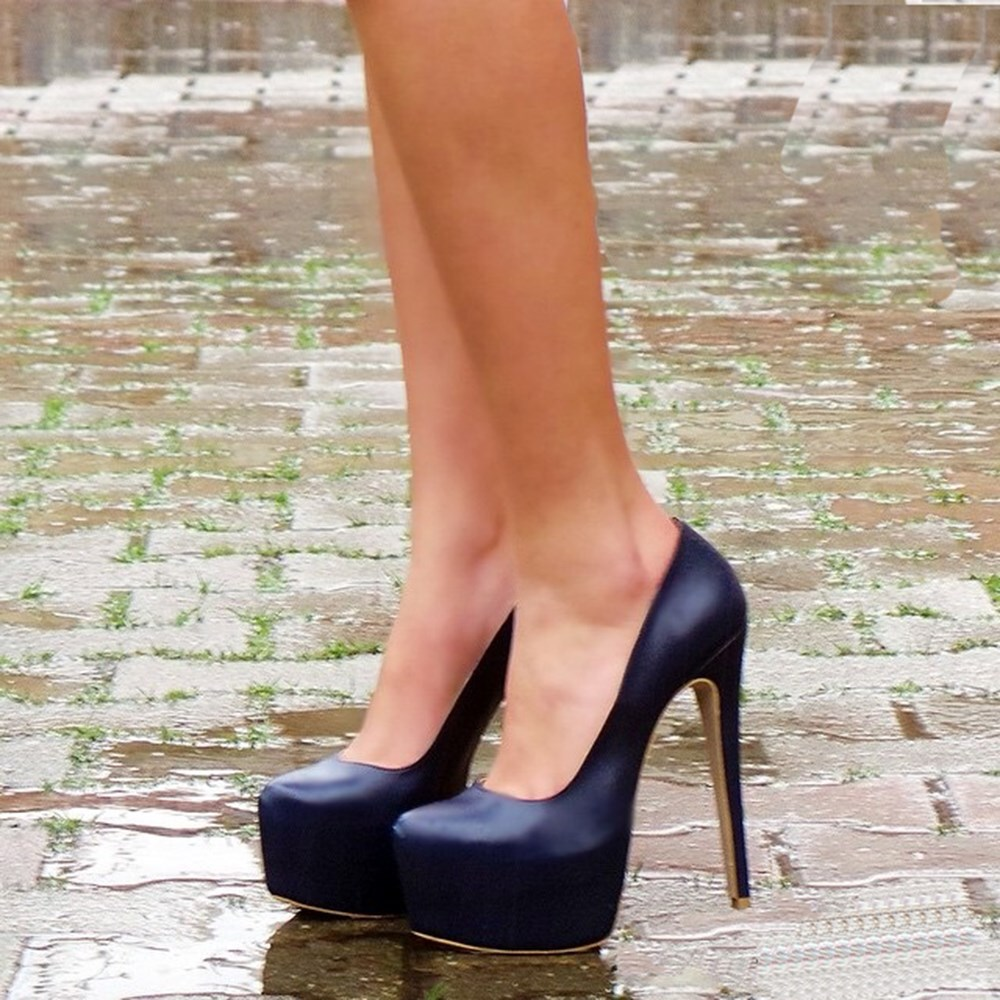 Mst-029 Navy Blue Leather New High Heels Shoes Women 'S Pumps Wedding Party Shoes Platform 14 Cm