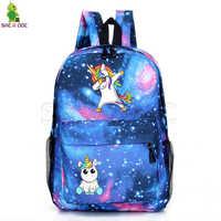 Unicórnio mochilas escola adolescente voltar sacos unicorno mochila dos desenhos animados saco um dos galaxy unicornio sacos de viagem