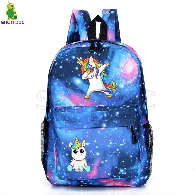 Unicorn Backpacks Teenager School Back Pack Bags Unicorno Backpack Cartoon Sac A Dos Galaxy Mochila Unicornio Travel  Bags