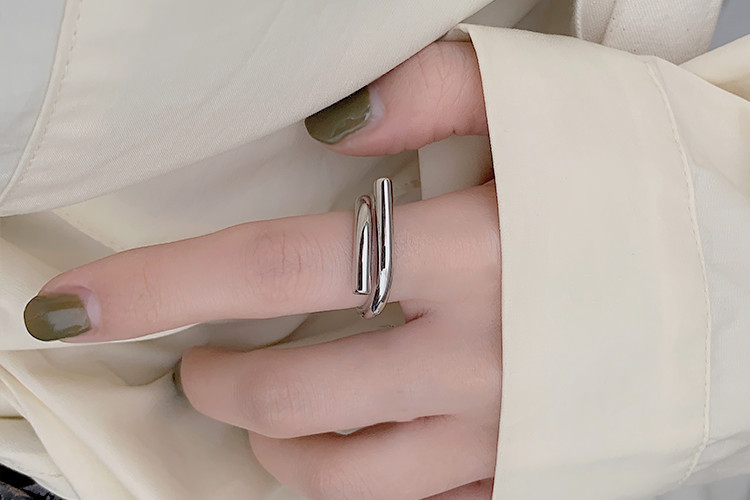 Boho Vintage Silver Color  Irregular Chains Rings for Women Lover Finger Ring Valentines Day Gifts 6