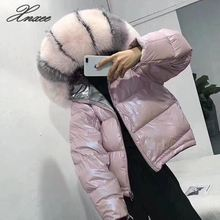 Xnxee2019 winter new double-faced bright face fox big fur collar down jacket female short bread dress thick coat