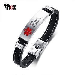 Vnox Personlized Medical Alert ID Bracelet for Men Stainless Steel Identification Tag Genuine Leather Emergency Male Jewelry