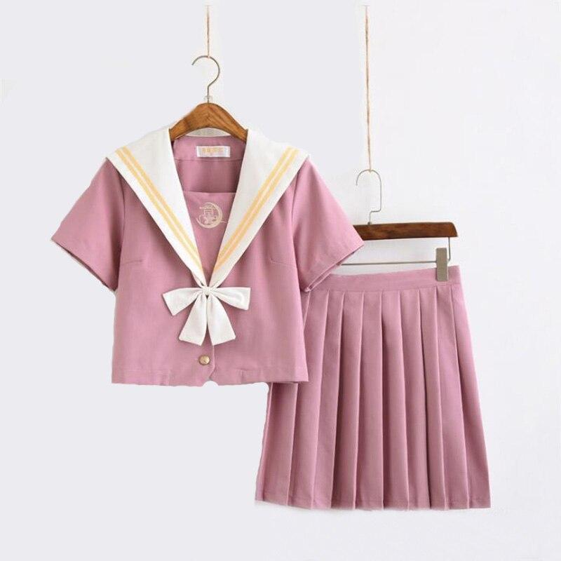 Japanese Orthodox JK Uniform Kansai Lapel Sailor Uniform Female Student Class Uniform Pink Soft Girl School Uniform Suit Cosplay