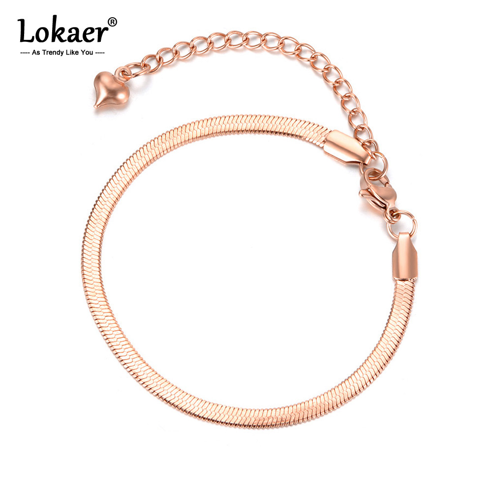 Lokaer yeni varış örnek takı paslanmaz çelik yılan zinciri ince bilezik gül altın/altın rengi noel hediyesi B18075