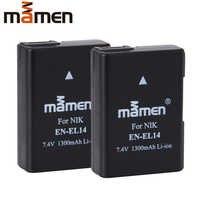 Mamen 2 uds EN-EL14 es EL14 EN-EL14a ENEL14 batería para cámara digital Nikon Coolpix D3100 D3200 D5200 P7100 P7700 DSLR baterías