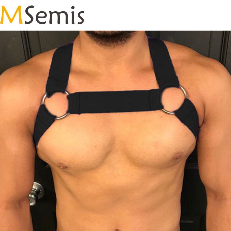 MSemis Mens Harness Bondage Gay Clubwear Costumes Shoulder Body Chest Muscle Harness Belt Straps Arnes Hombre Belt With O-ring