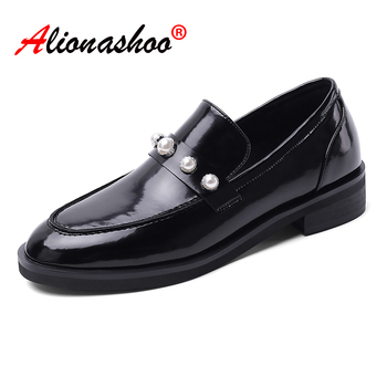 Women dress shoes oxford shoes formal work footwear black pearl rivets flats slip-on retro shoes genuine leather women shoes