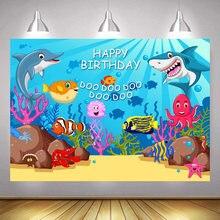 Праздничный фон для фотосъемки с дельфином морем акулой мальчиками