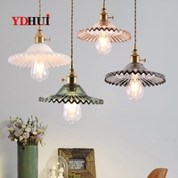 Lampe de restaurant nordique lampe en cuivre japonais simple rétro nostalgie barre lampe d'entrée laiton verre lustre à une extrémité|Lampes à suspension| |  -