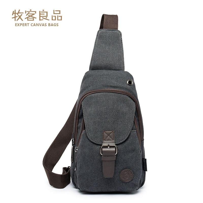 MEN'S Backpack One Shoulder Canvas Bag Chest Pack Retro Men's Bag Canvas With Horse Leather Chest Pack Shoulder Bag
