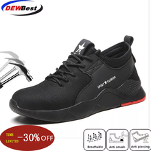 Dewbewt/Брендовые мужские и женские рабочие ботинки размера плюс 36-46 со стальным носком; модные легкие кроссовки; повседневная мужская обувь