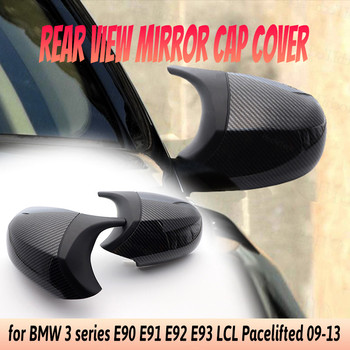 Styling Facelifted Carbon Fiber Pattern Pre-facelifted for BMW E90 E91 E92 E93 LCI Rearview Mirror Cover Caps M3 Style image