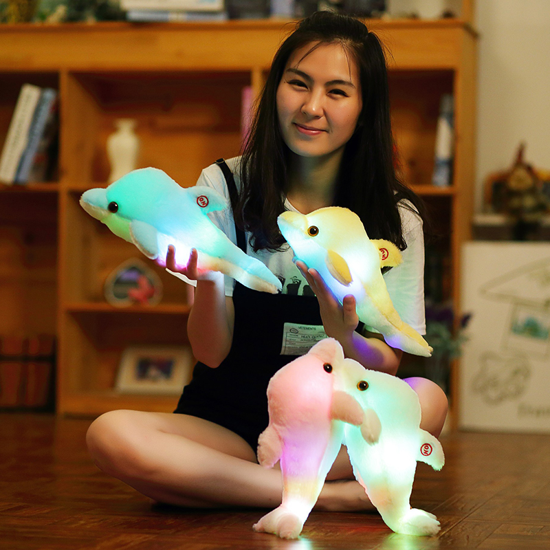 Image 2 - 32cm Creative Luminous Plush Dolphin Doll Glowing Pillow, Colorful LED Light  Animal Toys Kids Children's Gift YYT220-in Stuffed & Plush Animals from Toys & Hobbies